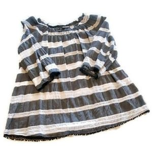 Westbound Large gray & white striped blouse